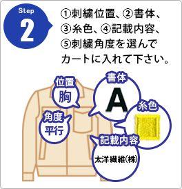Step2 �@刺繍位置、�A書体、�B糸色、�C記載内容、�D刺繍角度を選んでカートに入れてください。